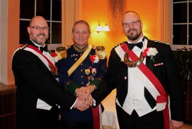 OLt und Adj Volker Koch, StMaj Heinz Joachim Pecher, OLt u. Adj Peter Jahn (von links)